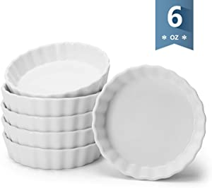 Sweese 509.001 Porcelain Round Ramekins for Baking, 6 Ounce Creme Brulee Dish, Set of 6, White