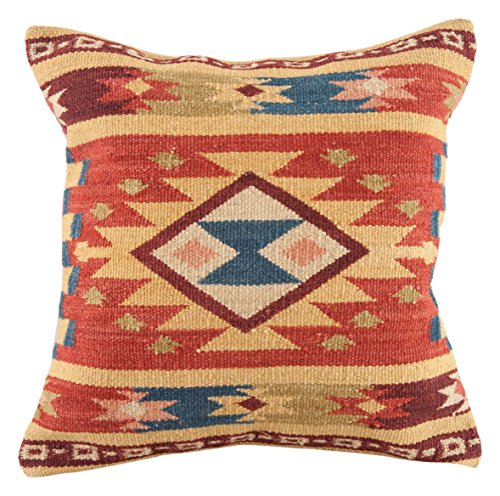 (Continental Rug Company L5036 LE1210 Lodge Southwestern Pillow, 18'' x 18'', Yellow,Red,Blue )