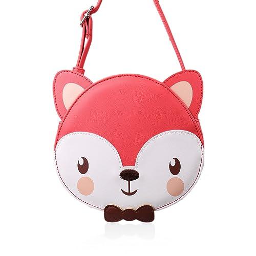Ava   Kings Girl Faux Leather Purse Shoulder Handbag Bag for Kids Red  Orange Fox feeed91dd9