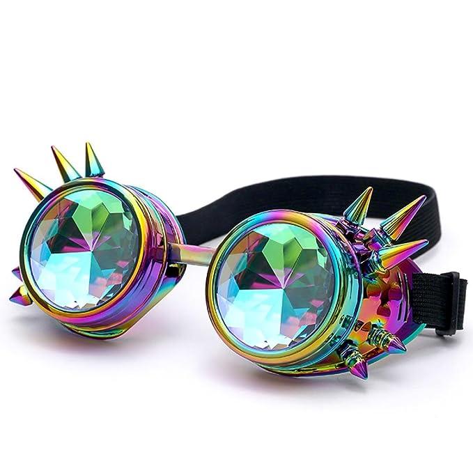 caleidoscopio gafas mujer con remache Sannysis caleidoscopio juguete niños gafas de sol edm lente difractada gafas