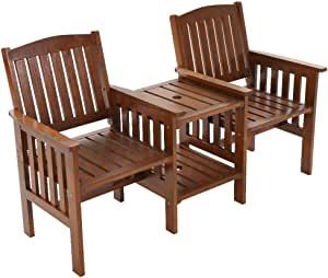 Gardeon Wooden Outdoor Furniture Garden Patio Chair Seat-Brown
