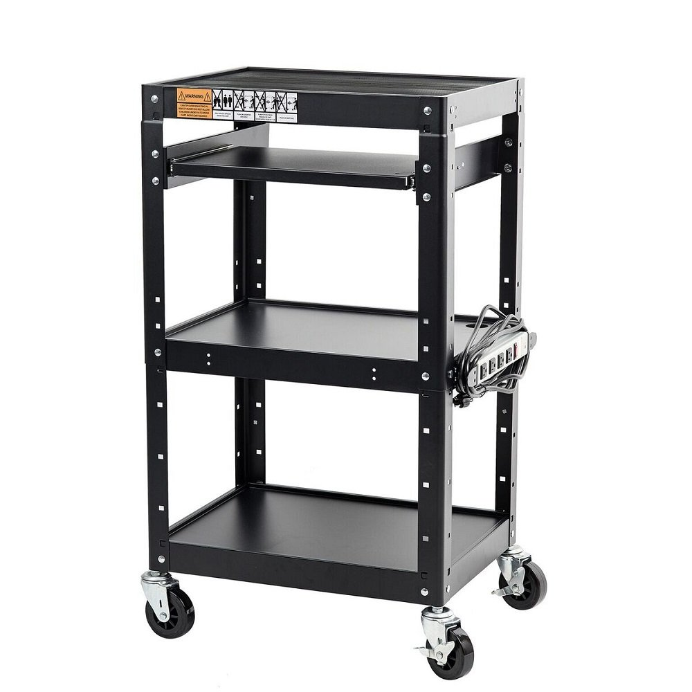 Pearington AV and Presentation Cart Stand for Video Projector, TV, Laptop Computers, Printers-Metal Construction Rolling Storage Cart with Adjustable Shelves and 4 wheels 4 outlets and 12 cord, Black