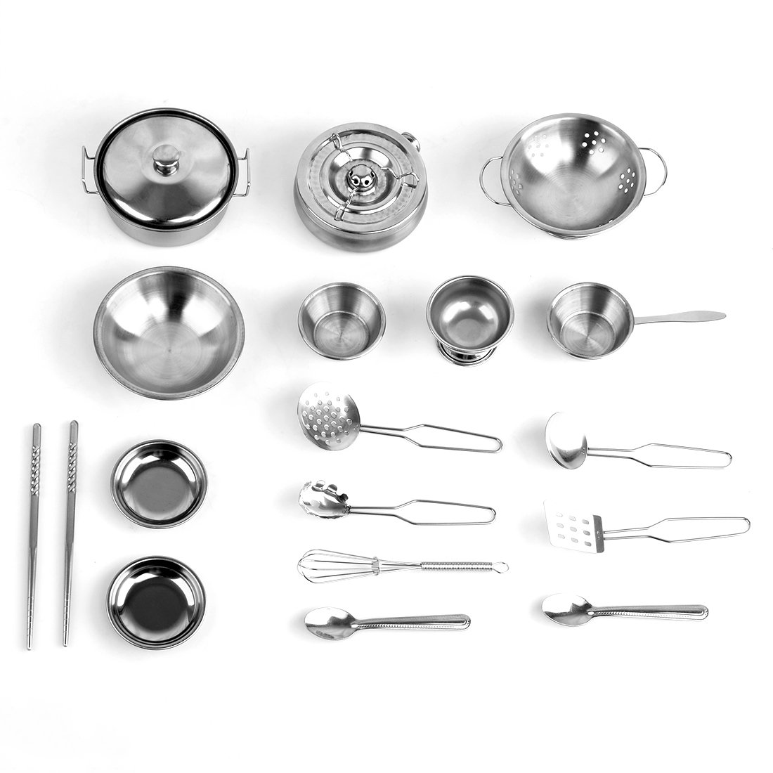 18 Piece Kitchen Cookware Playset, YIFAN Stainless Steel Pretend Play Cooking Toys for Kids - Silver