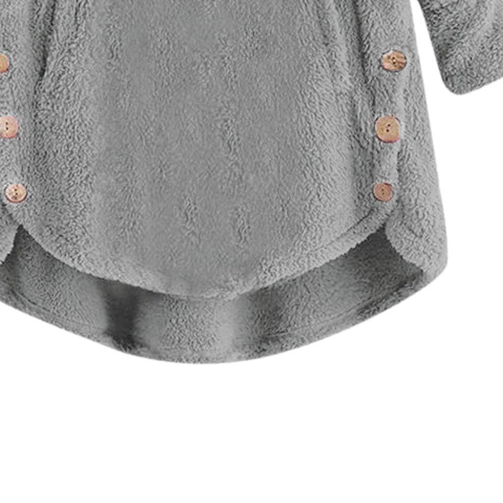 Voicry Frauen-Lange H/ülsen-Rotwild Druckten warme Vlies-KnopfHoodie-Strickjacken-Bluse