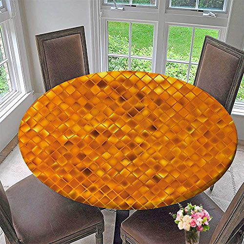 Chateau Easy-Care Cloth Tablecloth Golden Color Mosaic Geometric Design with Mirror Like Artwork Orange and Marigold Yellow for Home, Party, Wedding 31.5