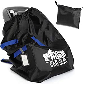 Gorilla Grip Car Seat Bag Backpack with Pouch, Free Luggage Tag, Universal Size Airplane Travel Bags Fits Most Carseats, Adjustable Padded Straps, Gate Check, Flying with Baby, Easy Carry, Blue Straps