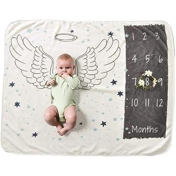 Flowop Baby Monthly Milestone Blanket - 27.6 x 40.2inches - Soft Photography Background Blanket - Newborn Photo Prop
