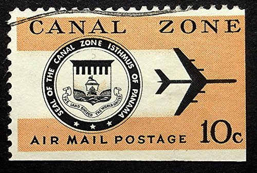 Seal of the Canal Zone, Isthmus Of Panama -Handmade Framed Postage Stamp Art 21931AM (Seal Of The Canal Zone Isthmus Of Panama)