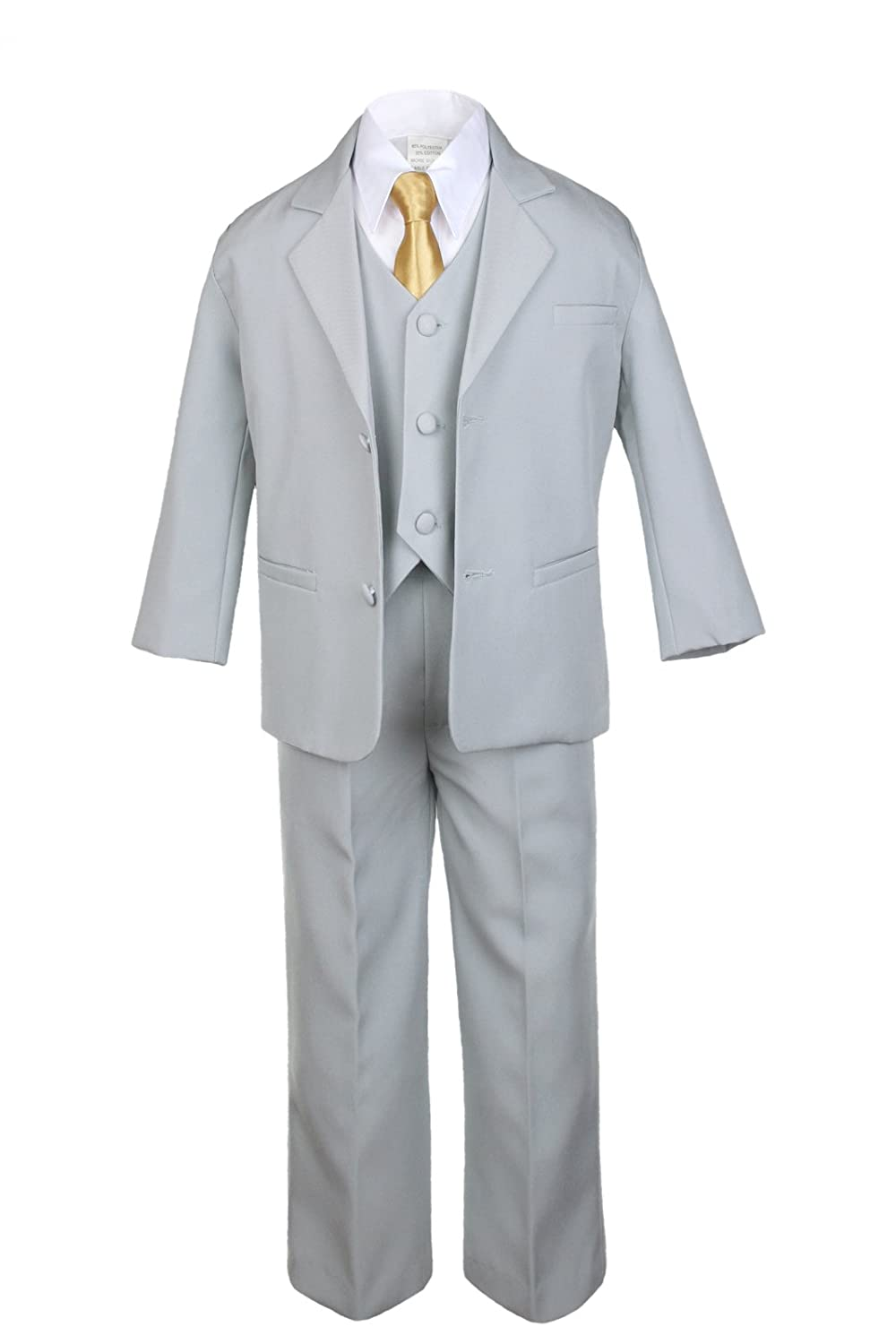 Unotux 6pc Boys Gray Vest Set Suits with Satin Gold Necktie Outfits Baby to Teen
