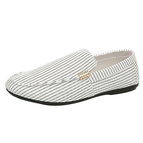 Cinnamou Zapatos Hombre Mocasines Rayas, Casuales Zapatos Hombre De Trabajo Comodos Verano Modernos Elegantes Calzado Hombre De Planas para Exterior: ...