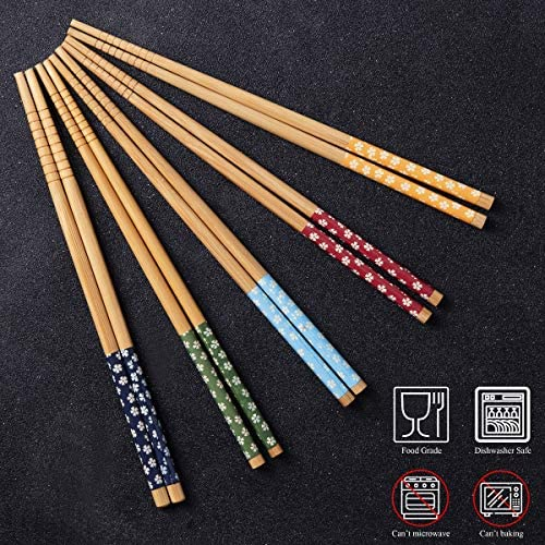 10 Pares Palillos de Bambu Japoneses Chopsticks Reutilizables ...