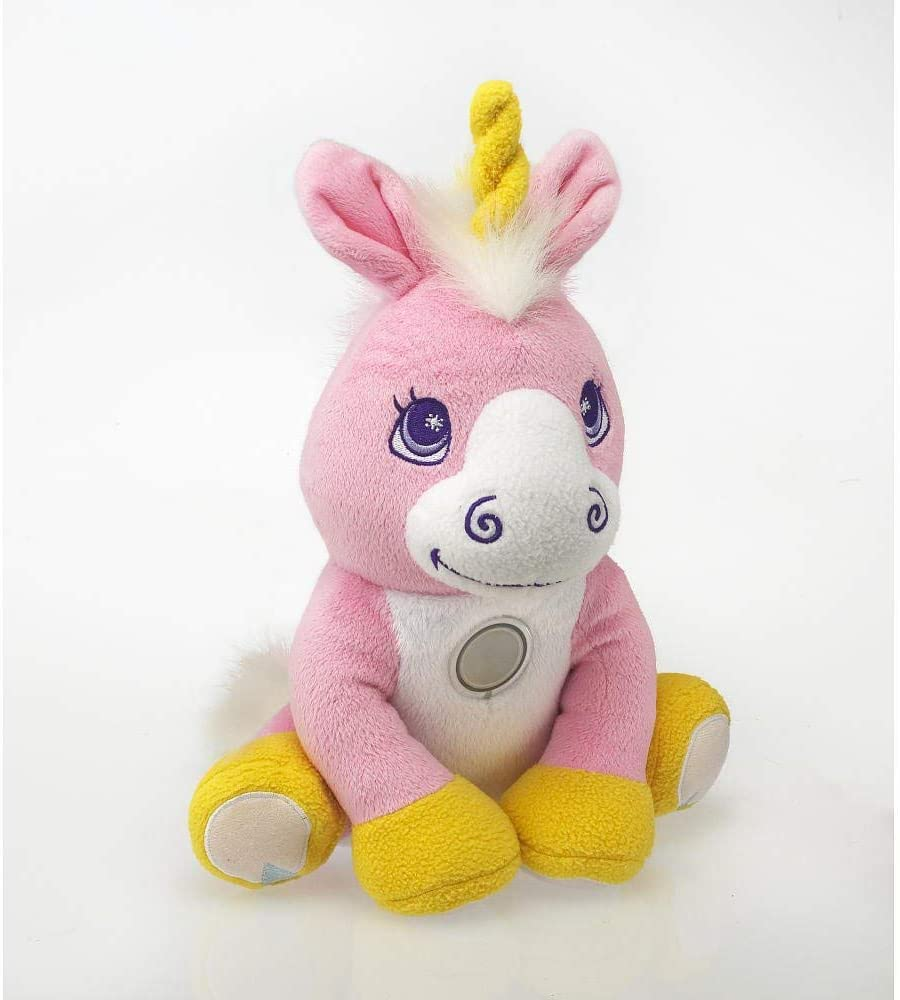 Image of a unicorn plush with flashlight in its tummy.