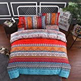 CoutureBridal Boho Tribal Bed Duvet Cover Set Queen 90X90 Red Aztec Gypsy Print Pattern Beddig Quilt Cover Set with Hidden Zipper,Soft and Comfortable-3 Pieces(1 Duvet Cover+2 Pillowcases)