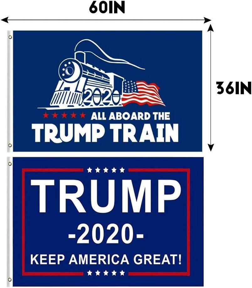 Amazon Com Jocha 2 Piezas Donald Trump Para Presidente 2020 Bandera Keep America Great Flag Todos A Bordo Del Trump Train Jardin Y Exteriores