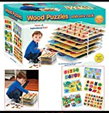 Toys : Set of 6 Educational Wood Puzzles with Wire Storage Rack