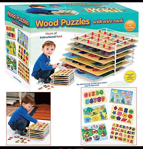 Set of 6 Educational Wood Puzzles with Wire Storage Rack - Peg Puzzle Set