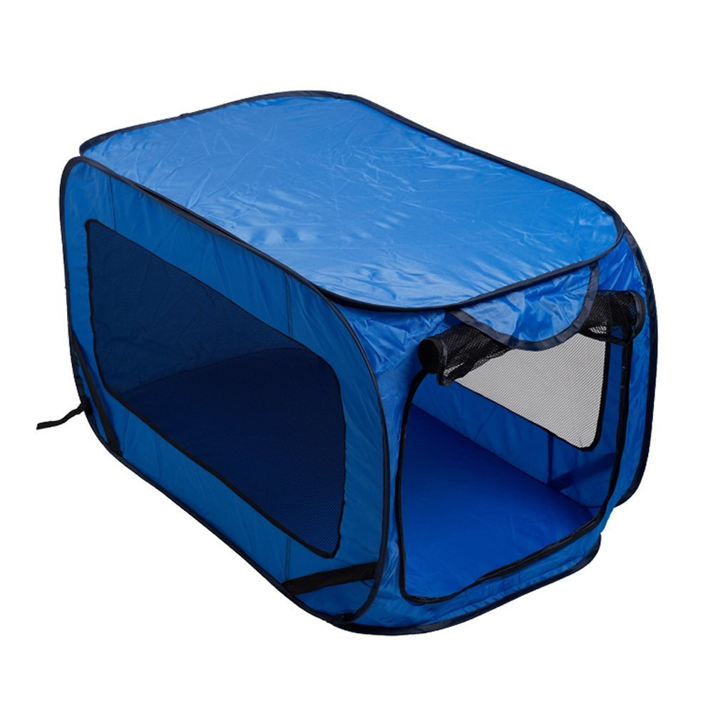 Dog Kennel Pet Cat Bed House Pop Up Folding Travel Foldable Camping Tent Cage (Blue 428134)
