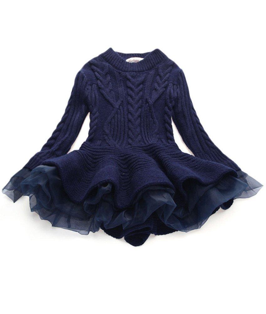 WEONEDREAM Little Girls' Spring Sweater Jumper Girl Dress Clothes Long Sleeves Kids Teens Tutu Dresses (Navy Blue, 110)