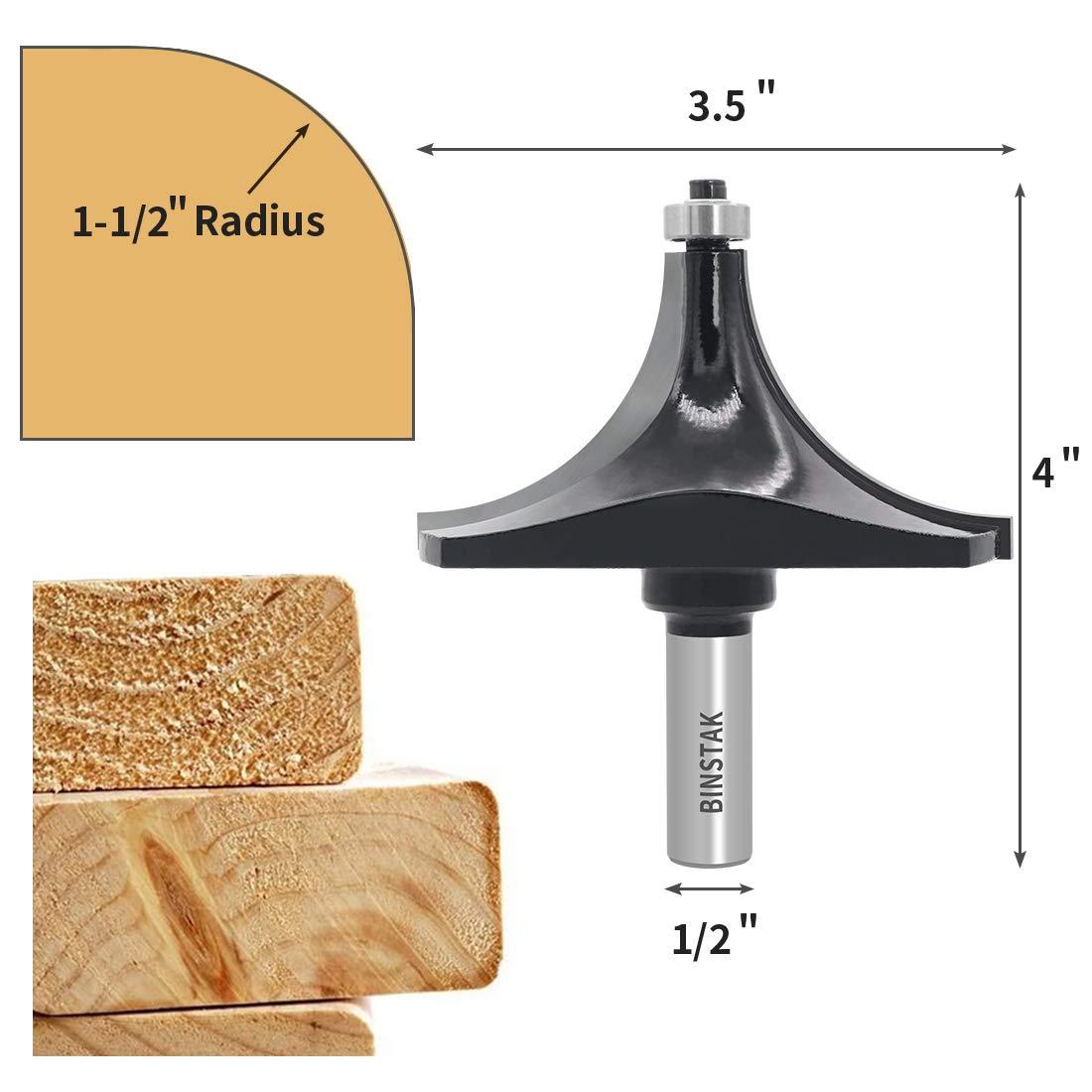 1-1//2 Radius Roundover Router Bit 1//2 Shank Bead Rounding Over Edging Bit by BINSTAK