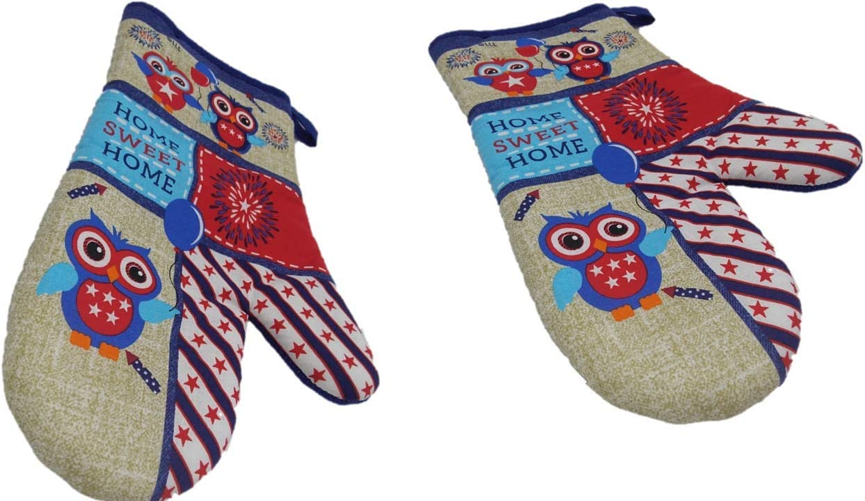 Oven Mitt Set - Americana Decor - Show Your True Colors in The Kitchen Year Round - Home Sweet Home with Owls Oven Mitts (2 Pc) Pot Holder - Patriotic Decorations