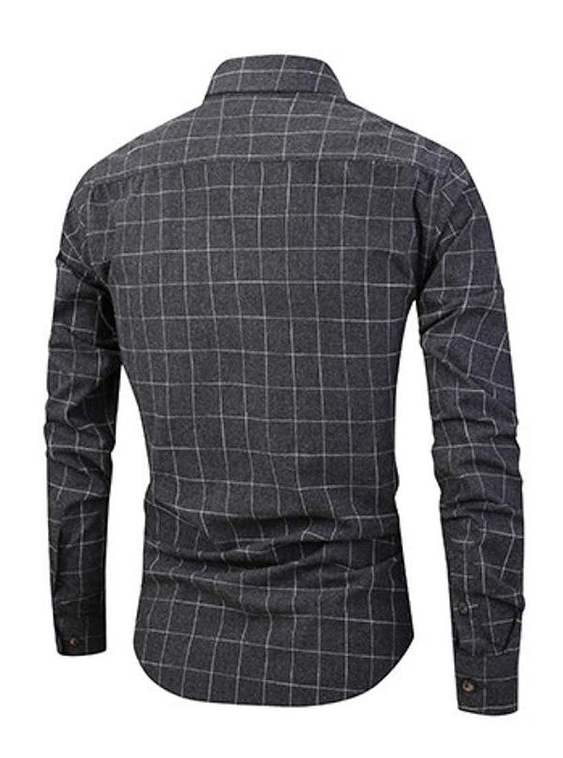 Pandapang Mens Comfort Checkered Turn Down Long Sleeve Tops Button Down Shirts