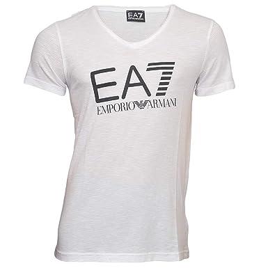 6ec37fc8 EA7 Emporio Armani Sea World Core Logo V-Neck T-Shirt, White: Amazon ...
