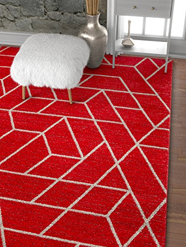 Well Woven Plaza Geometric Red Modern Lines Angles Tiles Shapes Accent Area Rug 4x5 (3'11
