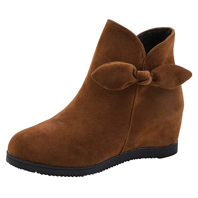 Zapatillas de Mujer de BaZhaHei, Zapatos de cuña del Ante del Dedo del pie del Ante de Las Mujeres Zapatos Zapatos del Color Puro con Cremallera Boots ...
