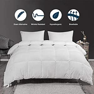 Accuratex Luxury Collection Hotel Style Allergy Free Super Soft Microfiber Overfilled White Goose Down Alternative Comforter, Duvet Insert with Corner tabs King Size