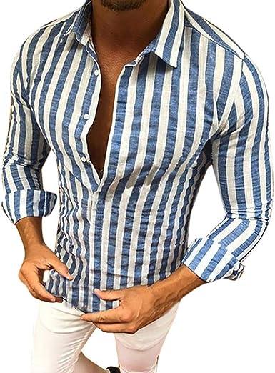 Camisa para Hombre Slim Fit Manga Larga Blanco Rayas Azules Botones Moda Completi Cuello en V Solapa Moda Ocio Camiseta Hombre Blusas Regular Fit Primavera Verano Casual Cool Tees Top Pullover: Amazon.es: