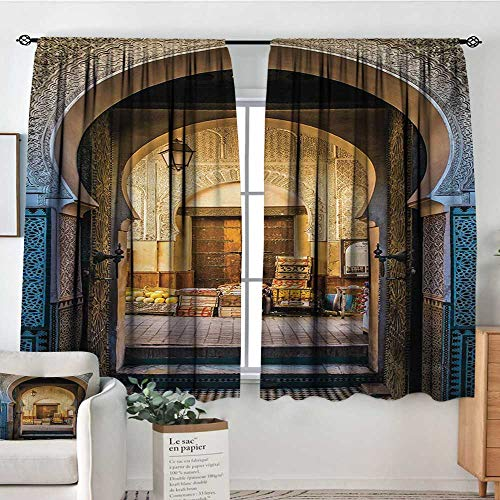 Moroccan Room Darkening Curtains Typical Moroccan Door to Old Medina Mediterranean Historical Arch Entrance Photo Decorative Curtains for Living Room 63
