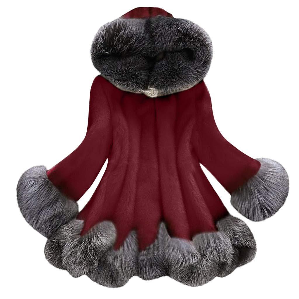 Cuekondy Women Faux Fur Coat Winter Warm Thick Fuzzy Fleece Coat Casual Soft Shaggy Shearling Jacket Outwear
