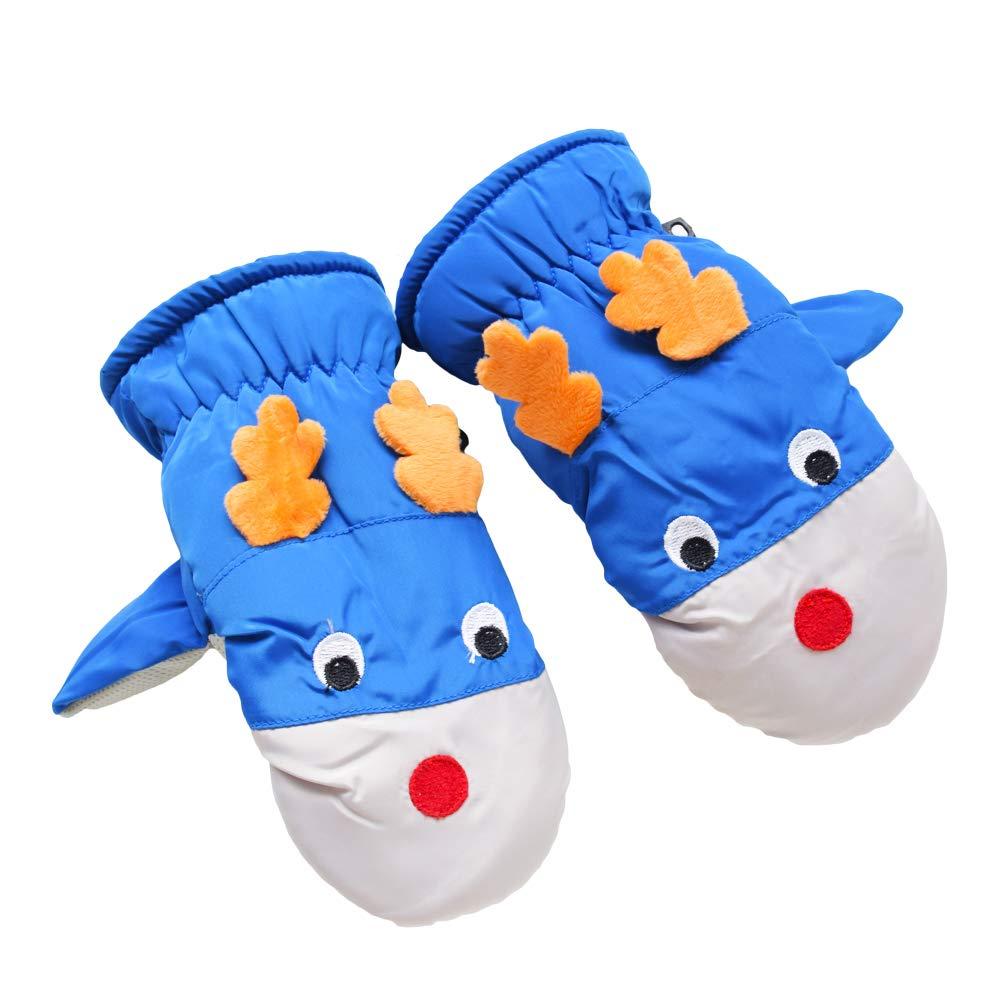 Hikfly Mittens Guanti per bambini Ragazze Ragazzi Per i più piccoli antivento Inverno Impermeabile anil bambino manopole termici sportivi all'aperto Regali di Natale Bambini di 3-6 anni Blu)