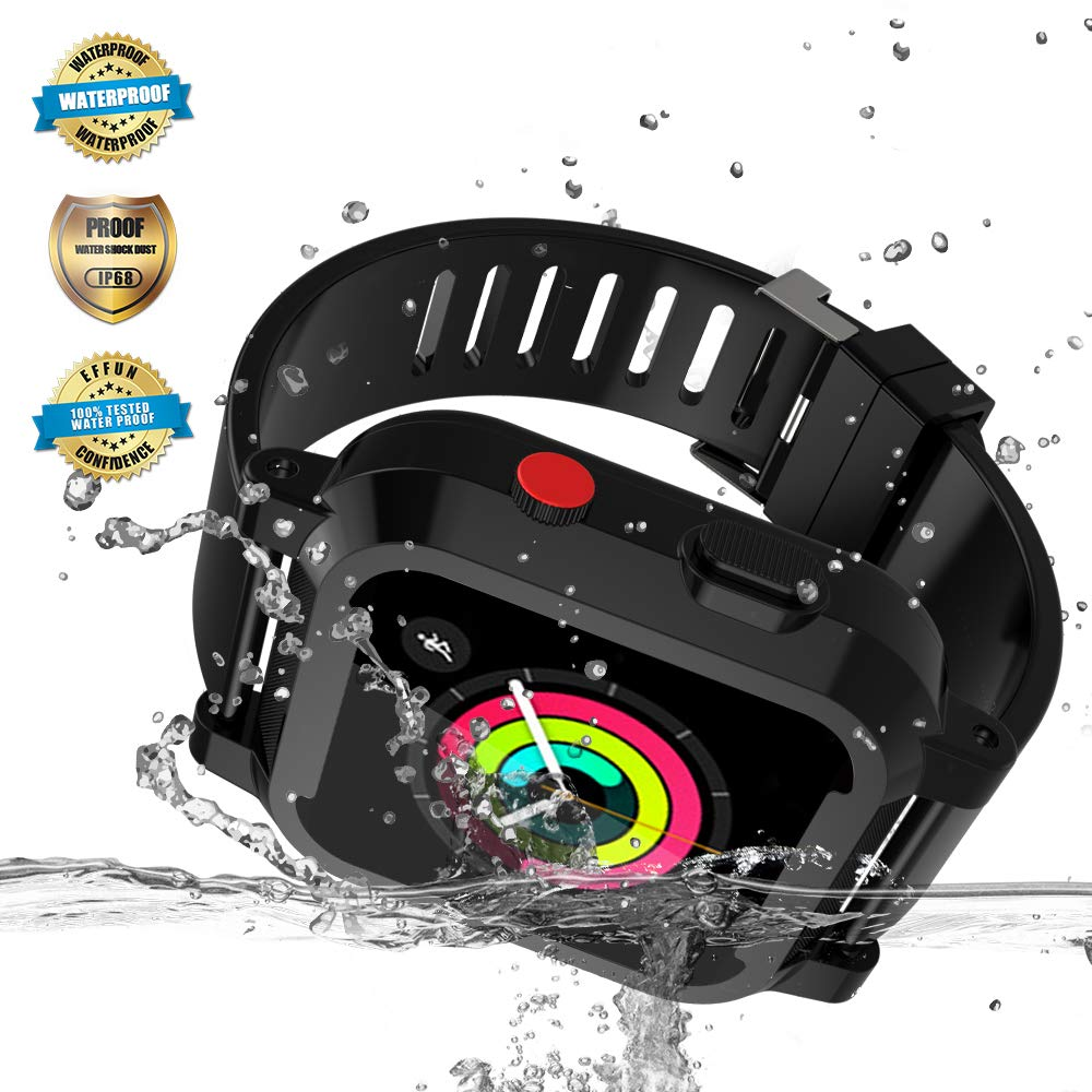 Apple Watch Waterproof Case for 42mm Apple Watch Series 3 & 2, EFFUN IP68 Waterproof Shockproof Impact Resistant Apple Watch Case Rugged Protective iWatch Case + 2 Soft Silicone Apple Watch Band Black by EFFUN (Image #1)