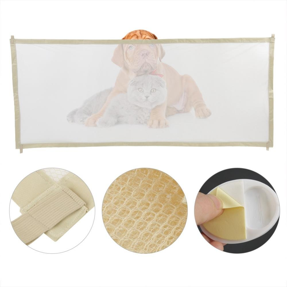 Pet Retractable Safety Guard,Portable Folding Baby Safety Gate and Pet Gate Door Fence Breathable Enclosure for Stairs, Doors, and More(Beige)