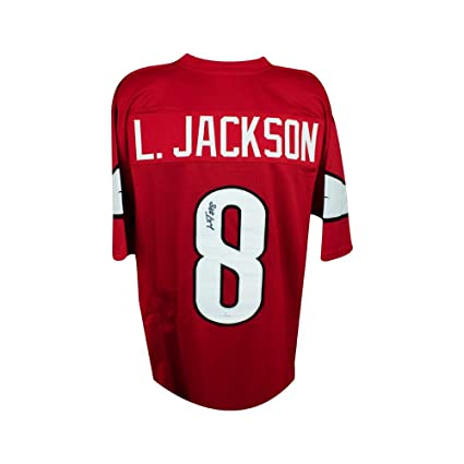 4ecee9b71 Image Unavailable. Image not available for. Color  Lamar Jackson  Autographed Louisville Cardinals Custom Red Football Jersey - JSA
