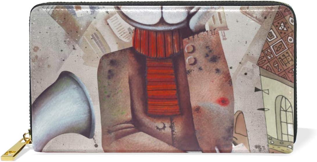 Cool Time Space Machine Cat Monedero para Mujer Largo Billetera de Cuero Cartera con Cremallera de Mujers Teléfono Organizador