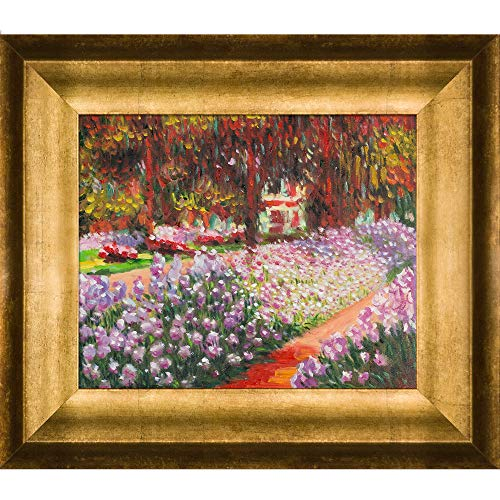 (overstockArt Monet Artist's Garden at Giverny Artwork with Athenian Antique Gold Finish)
