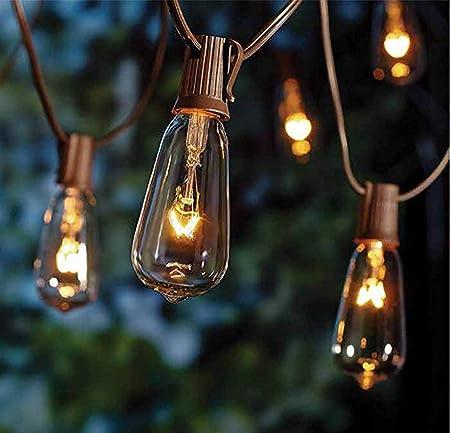 Amazon Com Goothy 20ft Outdoor Patio String Lights 20 Plus 2 Extra Bulbs St40 Vintage Edison Bulb C9 E17 Base String Lights For Garden Backyard Party Wedding Outdoor String Lights Brown Garden Outdoor