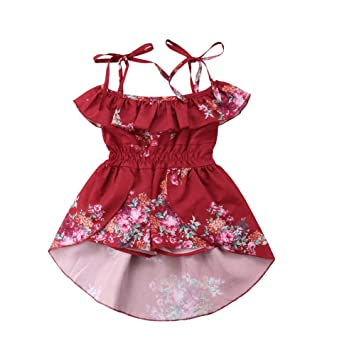 dface6d8157 Baby Girls  Ruffles Romper Outfits Floral Clothes Halter One-Pieces Shorts Jumpsuit  Sunsuit Dress