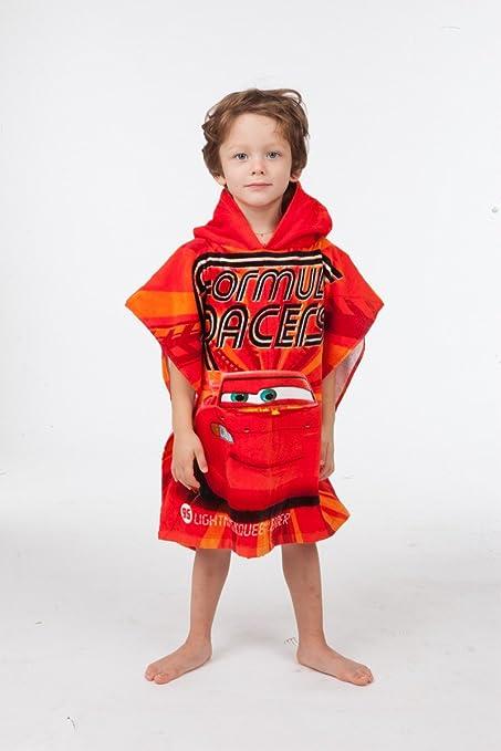 Jerry Fabrics Toalla de Poncho con Capucha para Niños, Diseño Disney Cars, Algodón,
