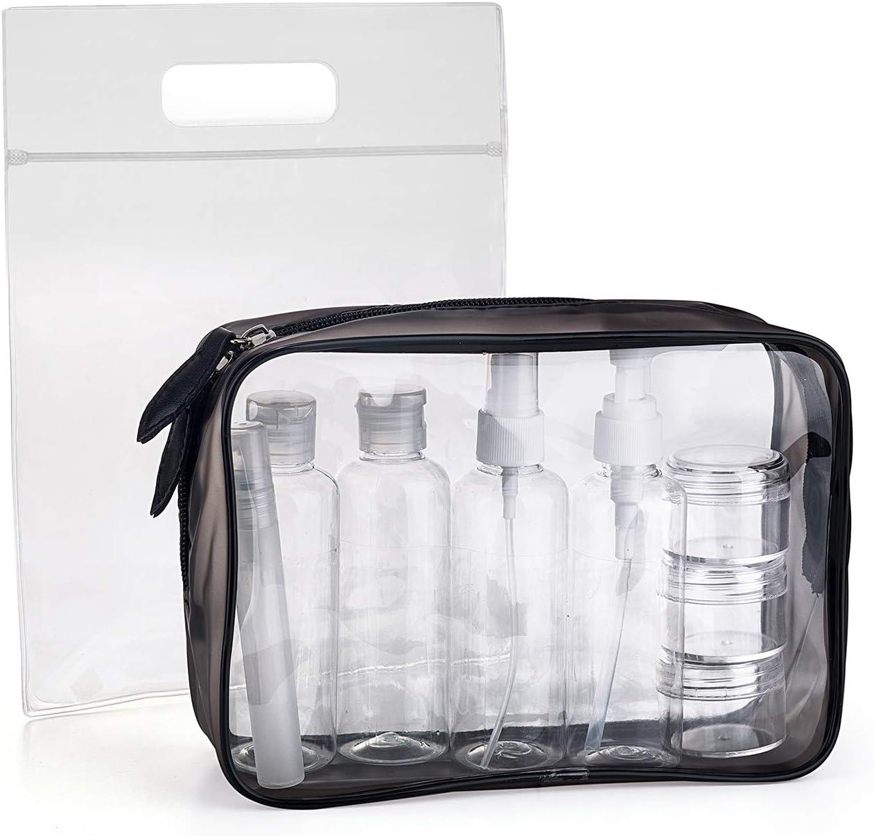 MOCOCITO Neceser Transparente con 8 Botellas de Viaje (MAX.100ml) y 1 Bolsa de Vuelo para Líquidos (20cm x 20cm,1L), Bolsa de Cosméticos Impermeable para Hombre y Mujer