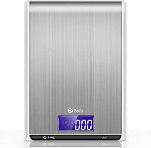 Brifit Digital Kitchen Scale, 5kg/1g Cooking Scale, High Accuracy Food Scale, 7 Units, Back-Lit LCD Display, Tare & Auto Off, Anti-fingerprint, Stainless Steel & Slim Design Batteries Included