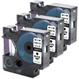 3 Pack Compatible Dymo Black on Clear D1 Label Tape 45010 Label Maker Tape Cassette, for DYMO LabelManager 160, 210D…