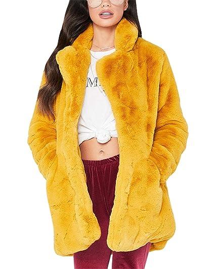 MISSMAOM Abrigo Calentar con Manga Larga para Mujer de Invierno de Piel Sintética de Pelo Chaqueta Outwear: Amazon.es: Ropa y accesorios