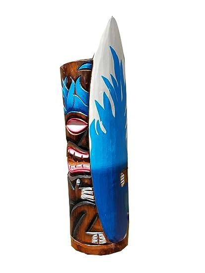 """20 """"Handcarved madera azul llama tabla de surf tiki máscara con un precioso color"""