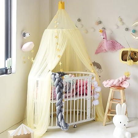 Hoomall Décoration Chambre Moustiquaire Ciel de Lit Baldaquin Moustiquaire  Tente Jeu Lecture pr Bébé Enfant Couleur Gris 240cm 1 PC (Jaune)