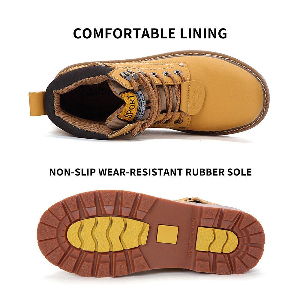 ENLEN&BENNA Women\Men's Work Boots Safety Boots Composite Toe Cap Waterproof Tan Casual Motorcycle Boot Lightweight B07F7JZD3Q 8 D(M) US|Black-fur