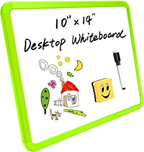 """Small Dry Erase Board for Kids 10 x 14"""", Light Weight Magnetic White Board for Wall, Mini Portable Study Board for Home School with Marker Eraser, Green Frame"""