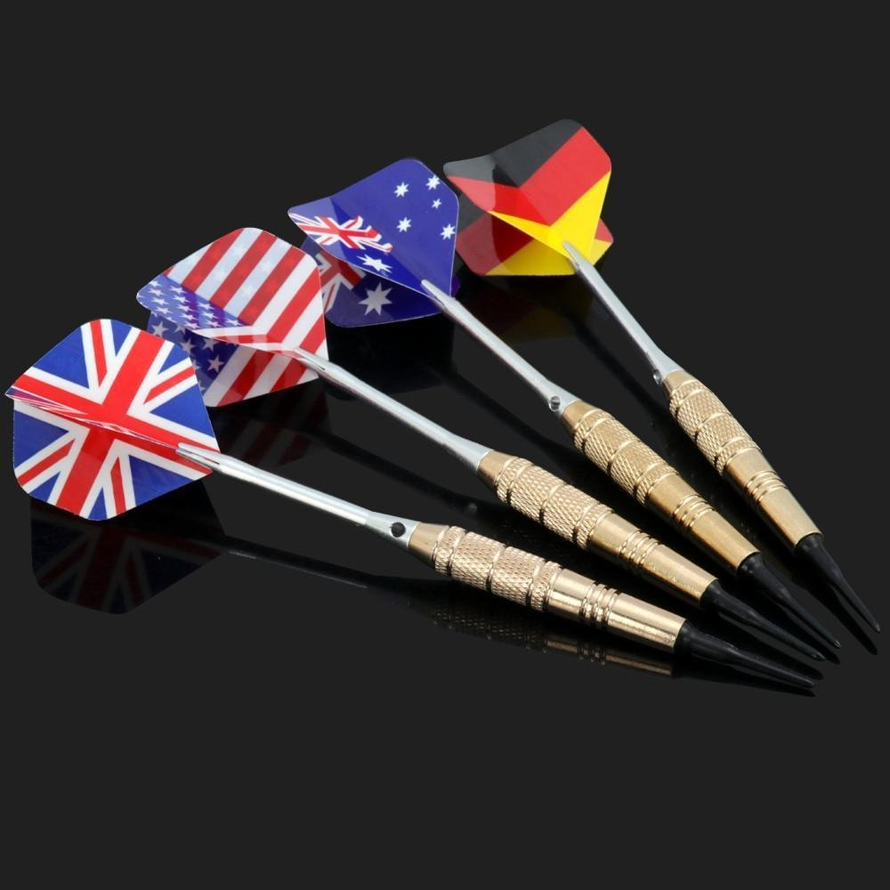 Popamazing 12 Packs Stainless Steel Needle Tip Dart with 4 National styles, Copper-covered Barrel and PVC Shaft